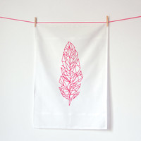 Feather / Cotton tea towel / Screen printed in neon pink