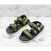 Suicoke Black Olive KISEE-V Vibram Sole Antibacterial Upper Slipper Slider Sandals