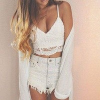 Fashion Ladies Women Sexy V-Neck Strap Floral Hollow Out Lace Slim Casual Crop Tops = 1956722692