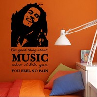 Vinyl Home Decoration Decal Bob Marley Reggae Music Vintage Wall Sticker Art Home Decals DIY Removable Vinyl Wall Paper NY-334