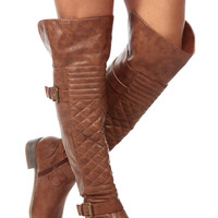 Tan Faux Leather Over the Knee Quilted Biker Boots