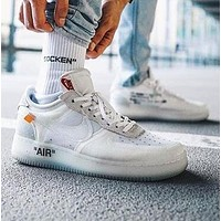 Nike Air Force 1 x OFF WHITE Popular Women Men Net Yarn Sport Running Shoes Sneakers White