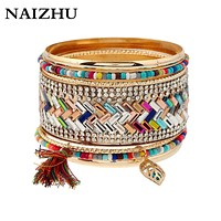 Multilayer Gold color alloy Bangle  Charm Bracelets tassel Bangles Set