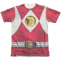 POWER RANGERS/RED RANGER EMBLEM-ADULT POLY/COTTON S/S TEE-WHITE
