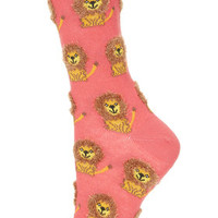 Fluffy Lion Ankle Socks - Pink