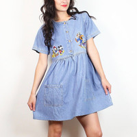 Vintage 90s Mini Babydoll Dress Chambray Blue Denim Embroidered Mickey Mouse Disney Soft Grunge Dress 1990s Lolita Jumper Overalls S Small M