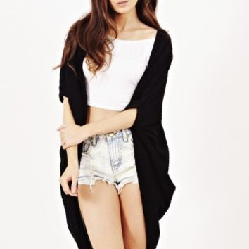 Kaori Drape Back Cardigan In Black | Shelikes
