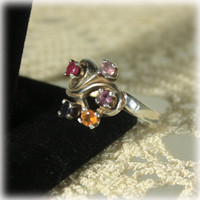 Mothers Ring, Grandmothers Ring, Birthstone Ring, Sterling Silver, Topaz, Ruby, Alexandrite, Amethyst