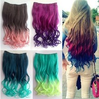 X&Y ANGEL New Two Tone One Piece Long Curl/curly/wavy Synthetic Thick Hair Extensions Clip-on Hairpieces 26 Colors