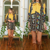 Vintage 1960's 1970's BOWED Dolly Folk Boho Hippie Tent Tunic Mini Mustard And Brown Dress || Size Small And Medium