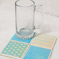 Tile Coasters in Retro Blue Floral Neon Stripes Theme Set with Foam Backs (4)