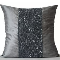 Metallic Grey beaded Pillows -Grey Silk Pillows -Grey Sparkle Pillow -Gray Beads Embroidered Pillow -18x18 -Gift -Beaded Cushions -Grey Bead