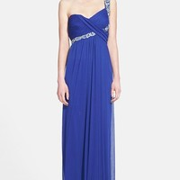 Way-In Embellished One-Shoulder Chiffon Gown (Juniors)