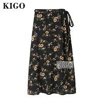 KIGO Women Vintage Floral Print Side Split Wrap Skirt High Waist Summer Boho Beach Skirt Women Chiffon Skirt Saia KE0185H