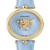 Versace Palazzo Empire Leather Strap Watch, 34mm | Nordstrom