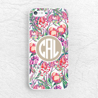 Colorful Floral Monogram Initial custom name Phone Case for iPhone 6, Sony z3, LG g3, HTC one M9 m8, Moto X Moto G, personalized phone cover
