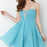 Short Strapless Sweetheart Hannah S Babydoll Dress