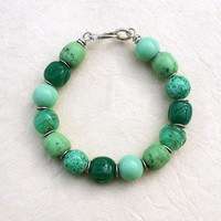 Pastel Green Mix Beaded Bracelet with Vintage Glass Beads, Sterling Silver, Turquoise, Teal, Mint, Celadon