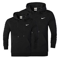 NIKE 2018 autumn and winter models men and women casual long-sleeved hooded sweater F/A Black