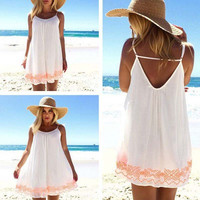 2016 Popular Women's Fashion Floral Printed Strappy Spaghetti Strap Sleeveless Sexy Casual Party Beach Summer Mini One Piece Dress ?_ 3138
