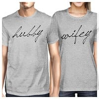 Hubby & Wifey Matching Couple Shirts in Grey (Set)