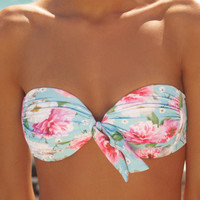 Ruched Bandeau in Dreamtime Floral – peony Swimwear