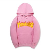 ThrasherNew flame thickening hoodies sweater no line Pink