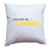 Apericots Pillow Cover Pillow Case Pillowcase You Are My Sunshine Yellow Design Home Decor Accent Pillow