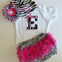 Ruffle Butt Bloomers Personalized Monogram Baby Girl Onesuit and Zebra Beanie With Flower Hairbow