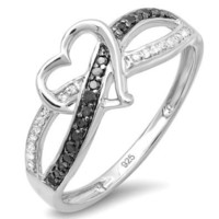 0.20 Carat (ctw) Sterling Silver Round Black & White Diamond Ladies Promise Heart Love Criss Cross Overlap Engagement Ring 1/5 CT: Jewelry
