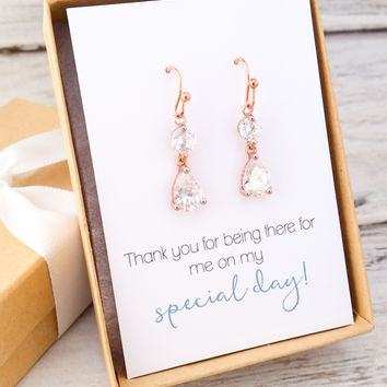 Rose Gold Teardrop Drop Earrings
