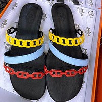 Hermes slippers rubber outsole pig nose  chain buckle sandals Black