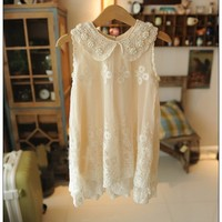 Vintage Inspired Cream Pearl and Lace Girls Dress