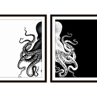 Octopus Art Print Beach Decor, Nautical Decor, Sea Ocean Set of Two - 5x7, 8X10, 11x14 Black and White,Home Decor Wall Decor