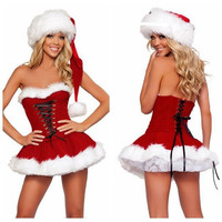 New Womens Sexy Red Christmas Xmas Holiday Party Mrs Miss Santa Costumes Outfits Fancy Mini Dress Size Medium With Hat (Size: M, Color: Red) = 1958045124