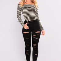 Just In Case High Rise Jeans - Black