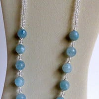 Faceted Aquamarine Necklace with Quartz and Sterling Silver, Statteam