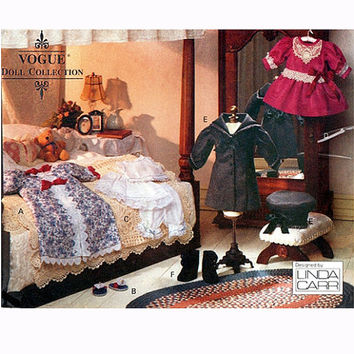 """VOGUE DOLL CLOTHES Pattern 18"""" Victorian Doll Clothes Dress Bloomers Nightgown Coat Hat Vogue 8241 American Girl Doll Craft Sewing Patterns"""