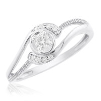 0.15 Cttw Round Solitaire With Accent Promise Ring