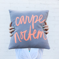 MADE TO ORDER Carpe Noctem Pillow - Seize the Night - 12x12 inches, Grey and Hot Coral