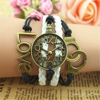 MagicPieces Clock Rings and Love 5 Layers Black and White Handmade Bracelet For Women's Teens Friendship Birthday Gift