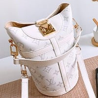 Hipgirls LV New fashion monogram leather shoulder bag crossbody bag handbag bucket bag White