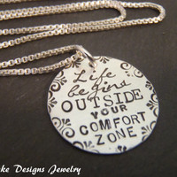 Sterling Silver life begins outside your comfort zone inspirational quote necklace