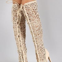 Women's Strappy Woven Lace Up Peep Toe Stiletto Thigh High Boot
