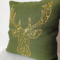 Deer Pillow Cover -Animal pillow stag embroidered in gold sequin -Burlap pillows -Green Moose pillow -Gold pillows -Christmas pillows -16x16