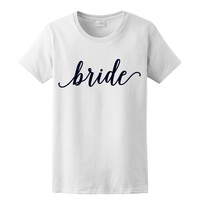 BLACK GLITZ PRINT! Bride, Women's Graphic T-Shirt, Bridal Wedding Bachelorette