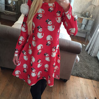 Xmas Snowman Print Long Sleeve Dress