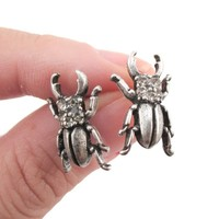 Stag Beetle with Pincers Shaped Rhinestone Stud Earrings in Silver   DOTOLY
