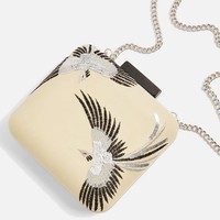 Leather Bird Embroidered Boxy Clutch   Topshop