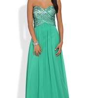Strapless Long Prom Dress with Sequin Criss Cross Bodice Mobile